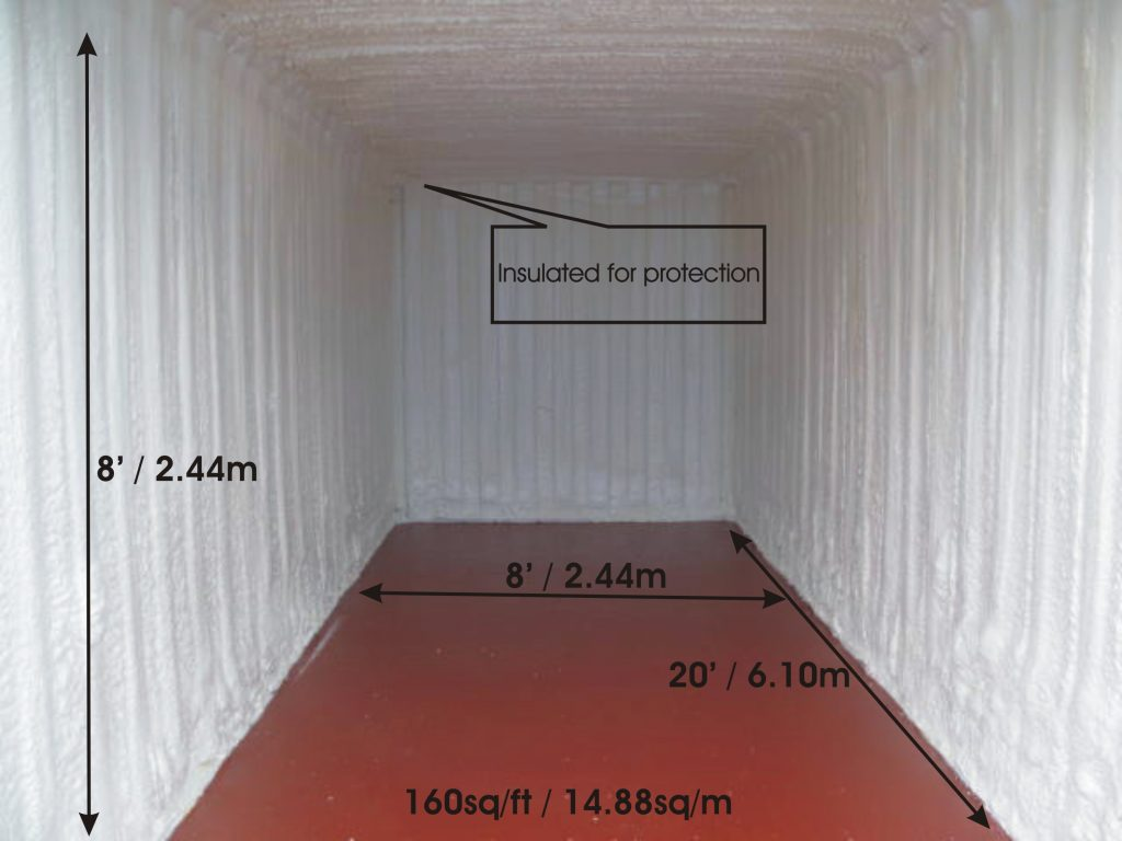 A twenty feet long by 8 feet wide insulated shipping container