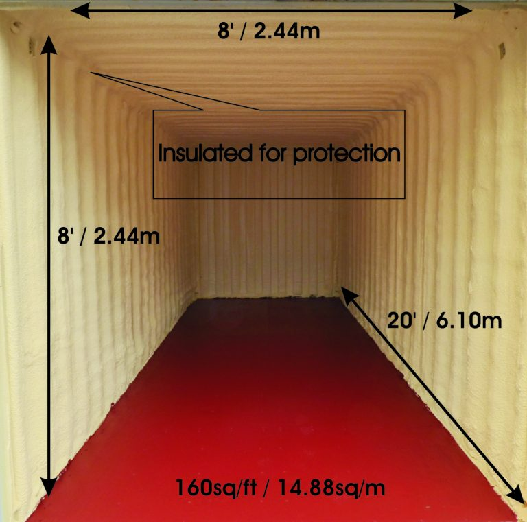Approximate interior dimensions of a 20 x 8 insulated container.