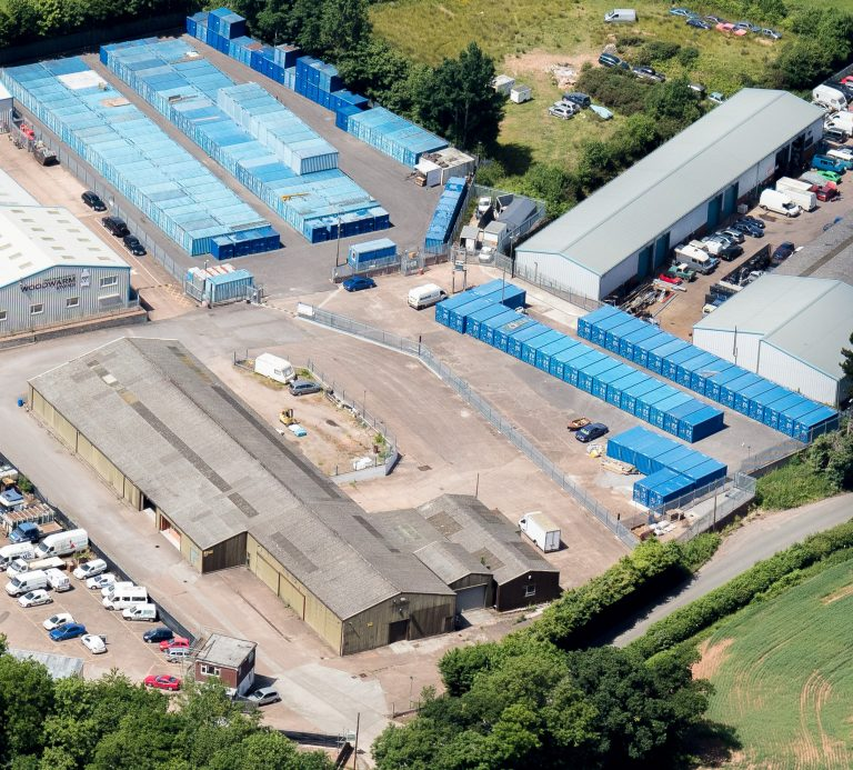 An aerial view of Whiteball Self Storage near Wellington Somerset.